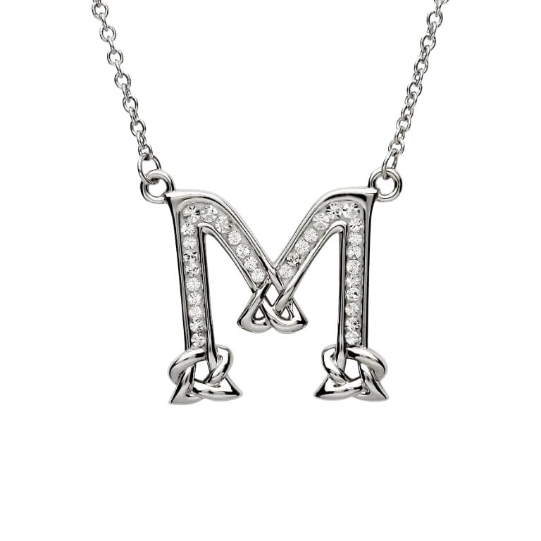 Silver Initial M Adorned with White Swarovski Crystal