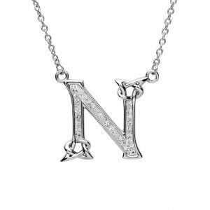 Silver Initial N Adorned with White Swarovski Crystal