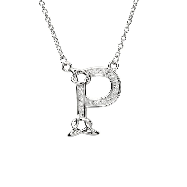 Silver Initial P Adorned with White Swarovski Crystal