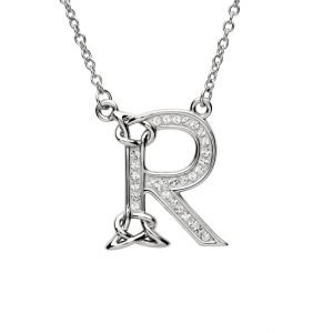 Silver Initial R Adorned with White Swarovski Crystal