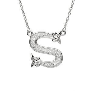 Silver Initial S Adorned with White Swarovski Crystal