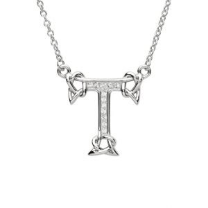 Silver Initial T Adorned with White Swarovski Crystal
