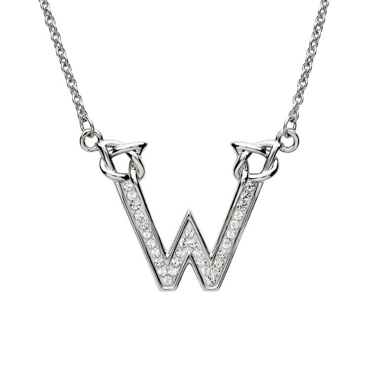 Silver Initial W Adorned with White Swarovski Crystal