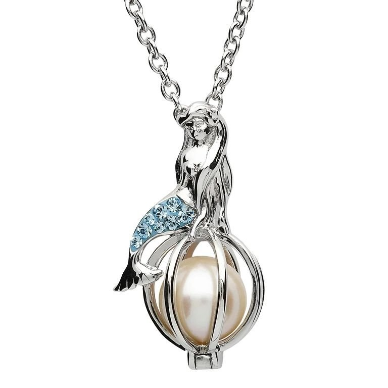 Silver Mermaid Pearl Pendant Embellished With Aquamarine Crystals