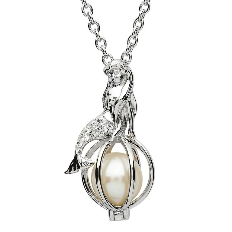 Silver Mermaid Pearl Pendant Embellished With White Crystals