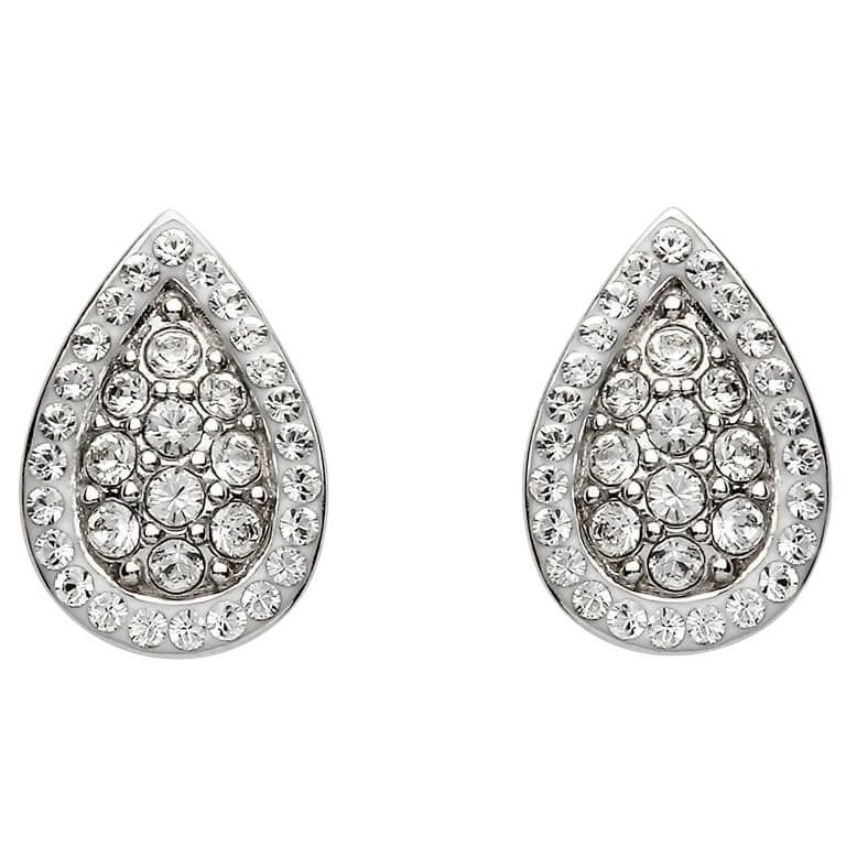 Silver Pear Shaped Earrings Encrusted With Crystals