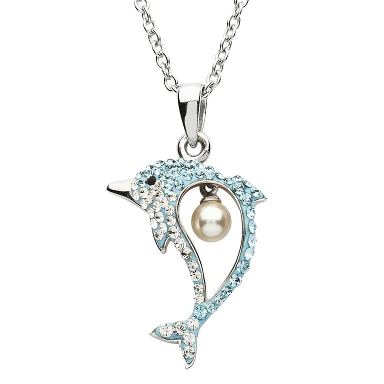 Silver Pearl Dolphin Pendant Encrusted With Crystal