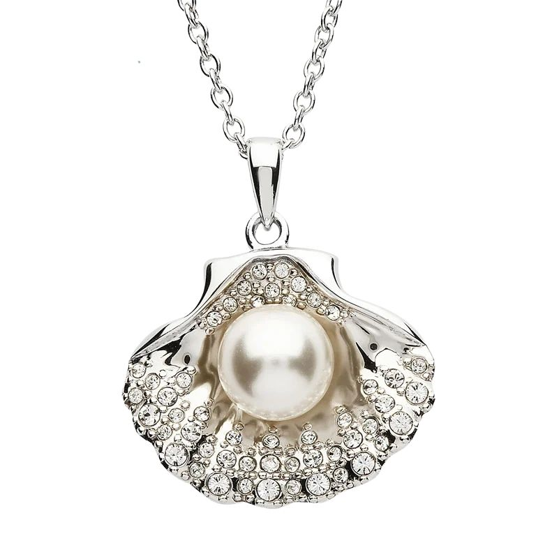 Silver Pearl Sea Shell Pendant Embellished With White Crystal