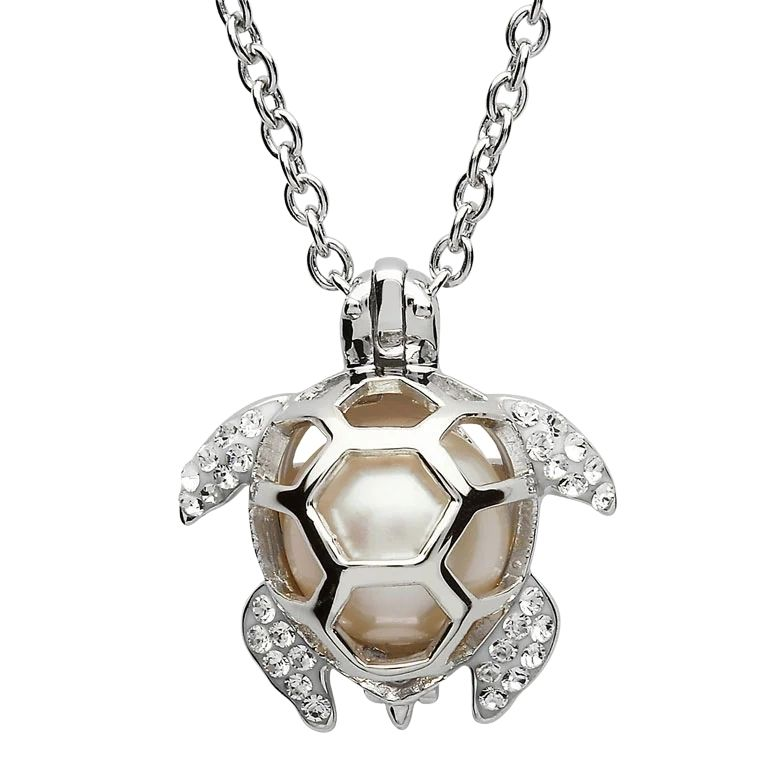 Silver Pearl Turtle Pendant Adorned With White Crystal Oc28