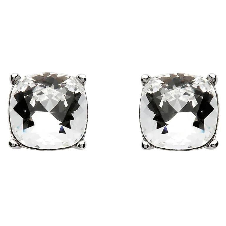 Silver Pendant Adorned With A Cushion Shape Swarovski Crystal
