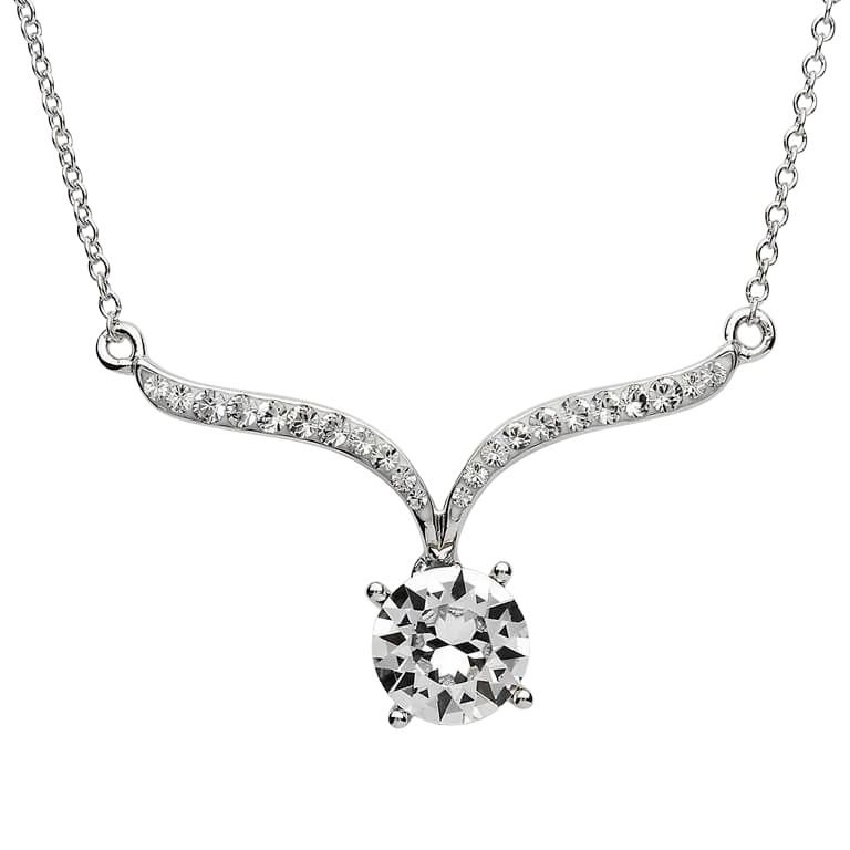 Silver Pendant Adorned With White Crystals St18