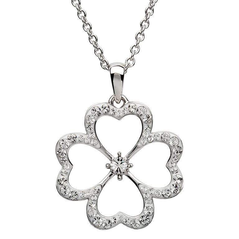 Silver Pendant Embellished With White Crystal St5