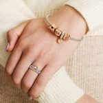 Silver Rose Gold Trinity Heart Bead Adorned With Crystals - Gallery Thumbnail Image