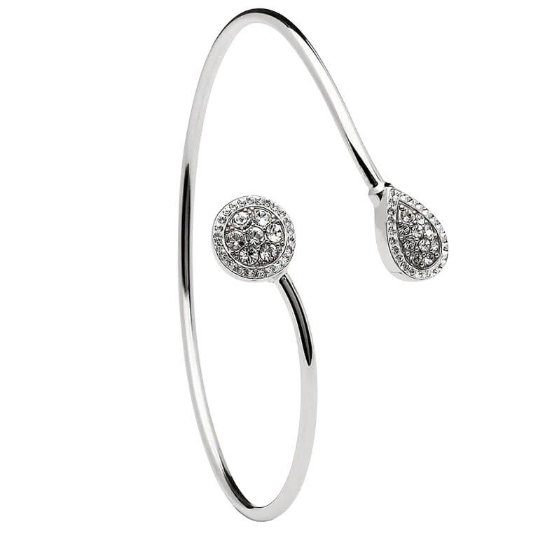 Silver Round Pear Shape Halo Bangle Encrusted With Swarovski Crystal