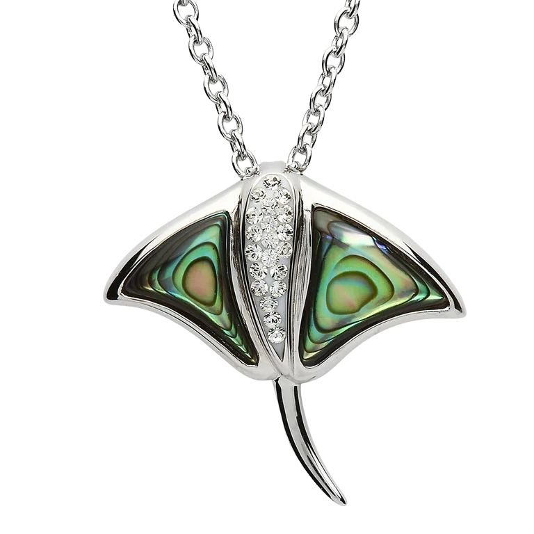 Silver Stingray Abalone Pendant Adorned With White Crystal