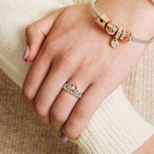 Silver Tara's Princess Heart Trinity Ring Adorned With A Crystal