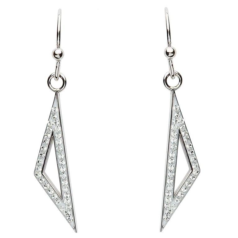 Silver Triangle Shaped Earrings Embellished With Swarovski Crystals