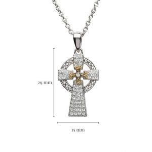 Silver Two Tone Cross Adorned With Crystals with Measurement