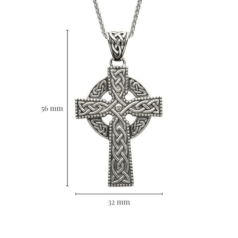 Sterling Silver Celtic Cross With Detailed Intricate Design with Measurement
