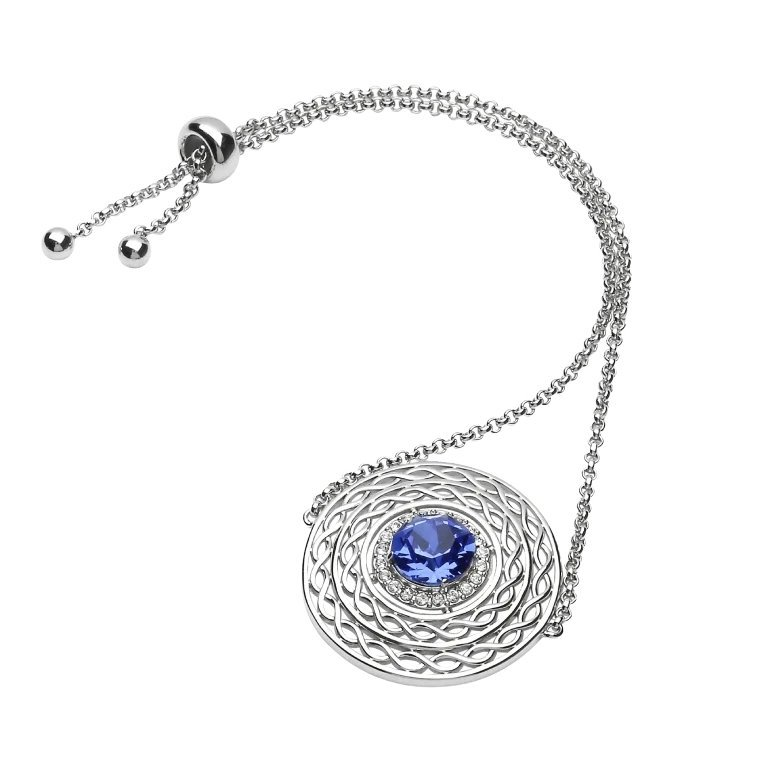 Sterling Silver Celtic Halo Bracelet Adorned With Blue Sapphire Crystals