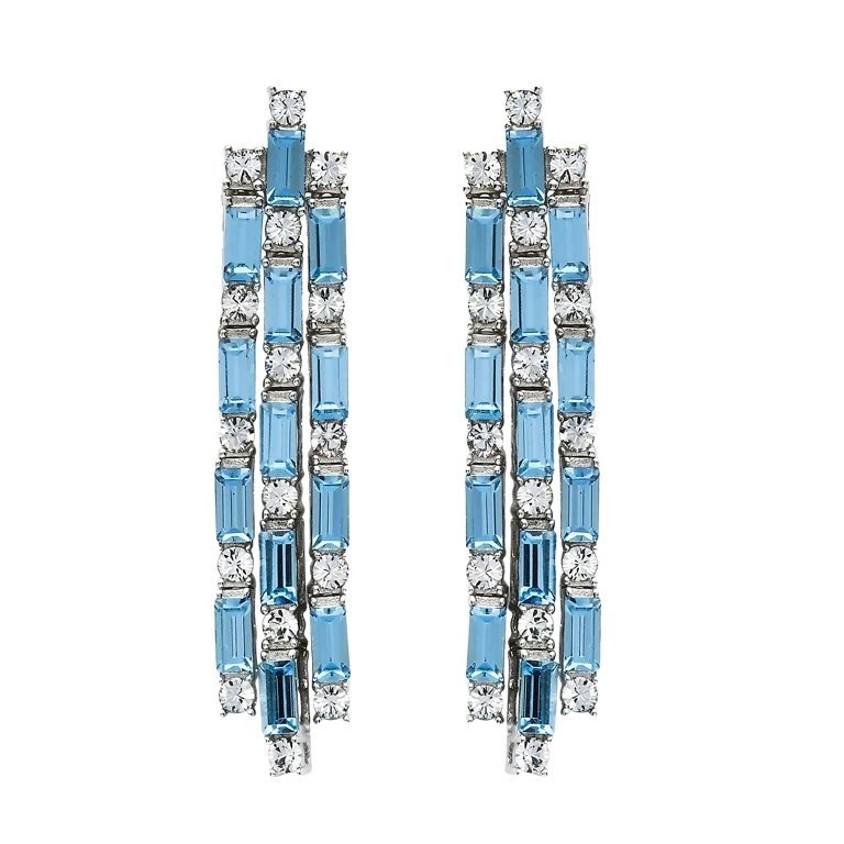 Sterling Silver Drop Dangle Earrings Embellished With Crystal