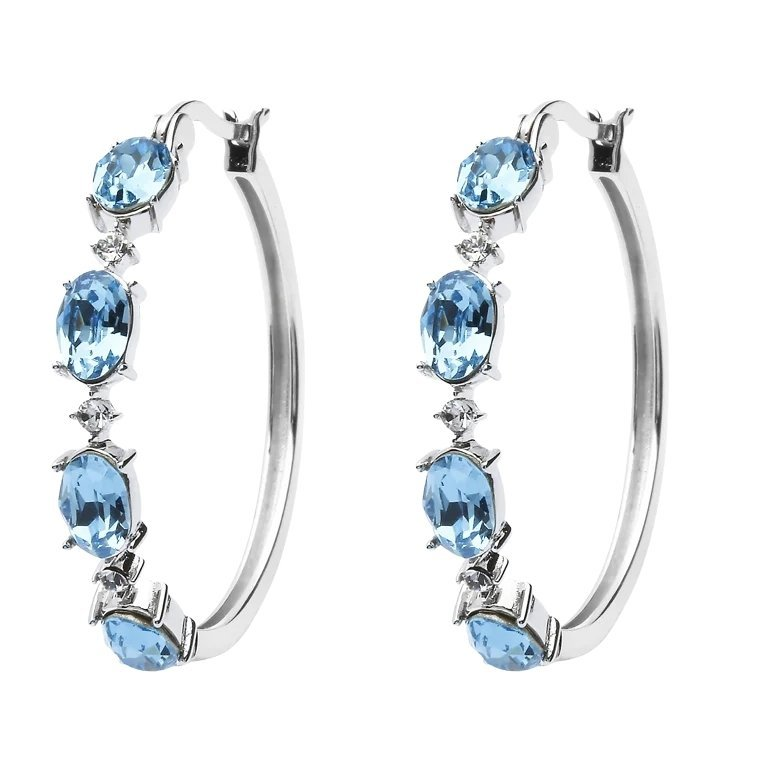 Sterling Silver Earrings Embellished With White Aquamarine Crystals