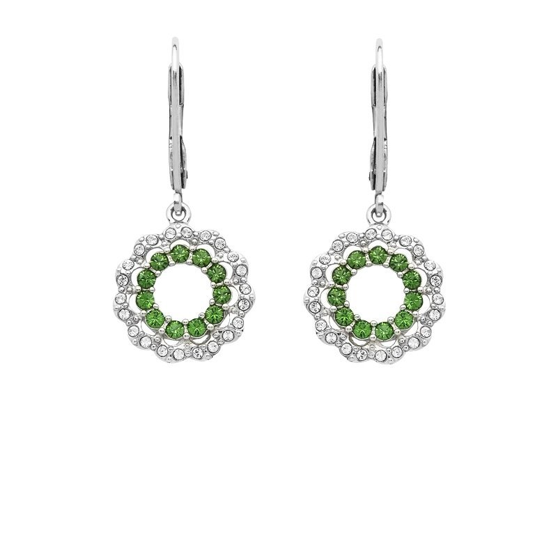 Sterling Silver Halo Style Earrings Adorned With Swarovski Crystals St81
