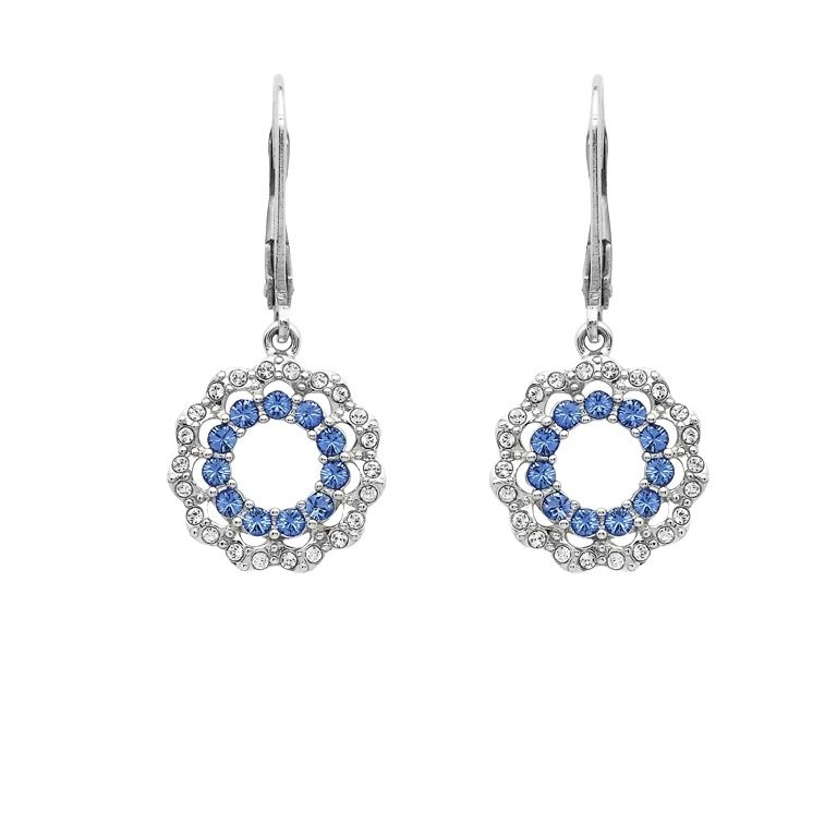 Sterling Silver Halo Style Earrings Encrusted With Swarovski Crystals