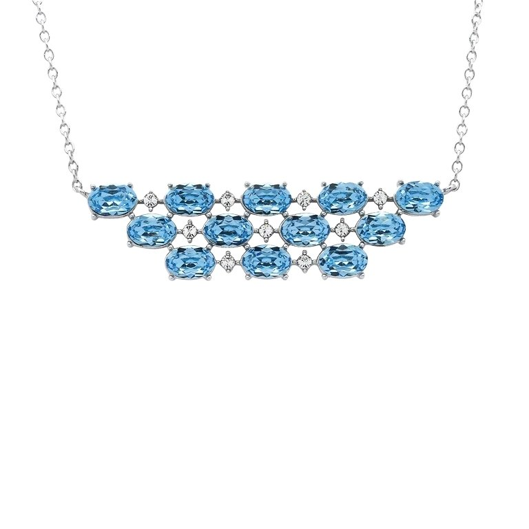 Sterling Silver Necklace Embellished With White Aquamarine Crystals