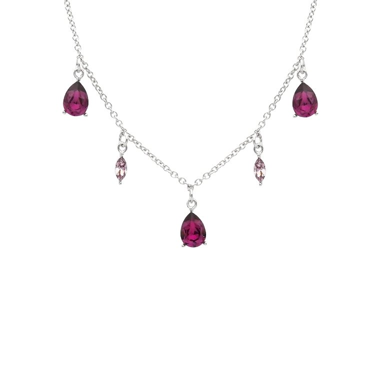 Sterling Silver Necklace Set With Amethyst Pear Shaped Crystals