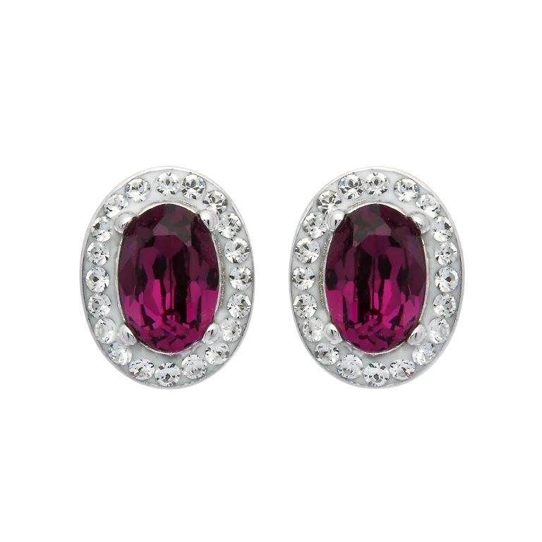 Sterling Silver Oval Halo Stud Earrings Embellished With Swarovski Crystal SKU: ST84