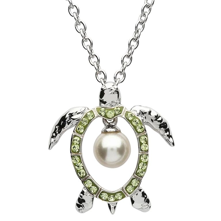 Sterling Silver Pearl Turtle Pendant Adorned With Peridot Crystals