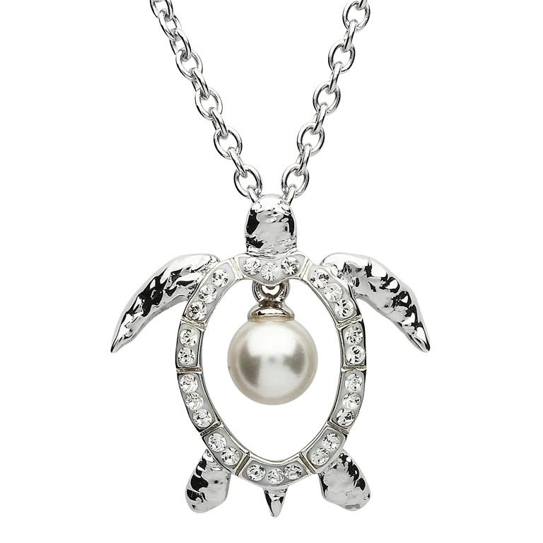 Sterling Silver Pearl Turtle Pendant Adorned With White Crystal