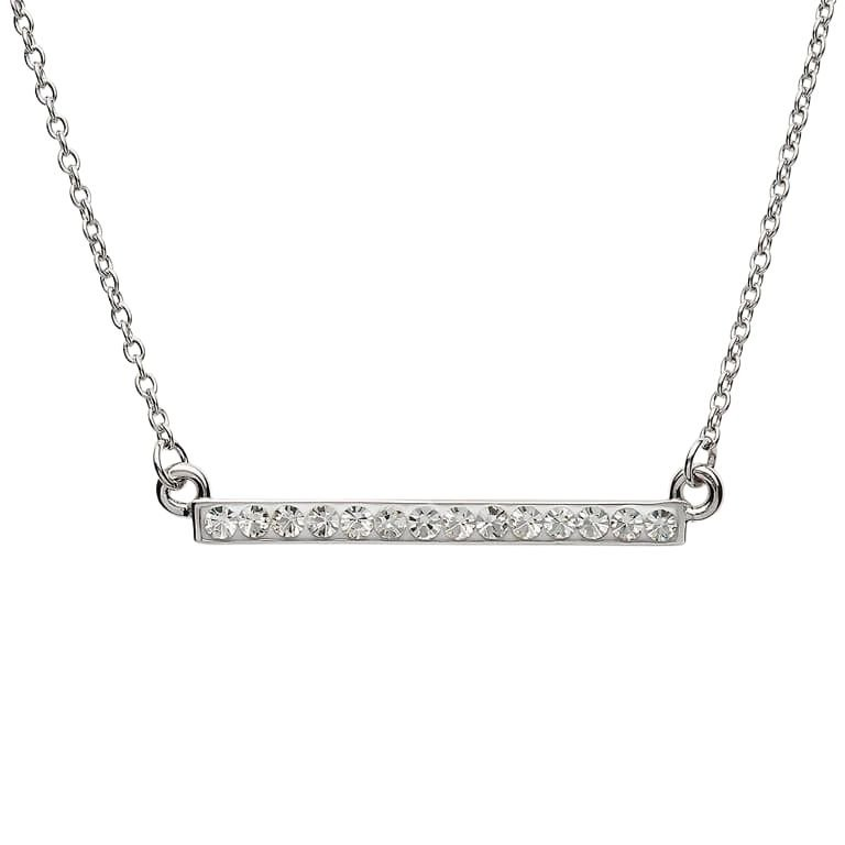 Sterling Silver Pendant Adorned With White Crystal St16