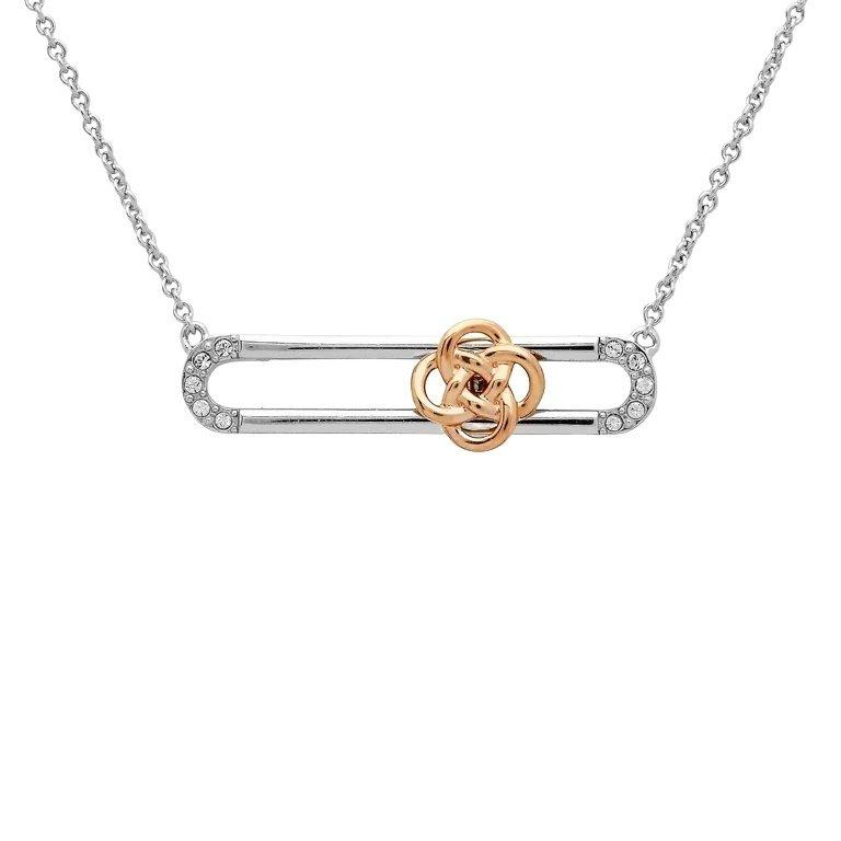 Sterling Silver Rose Gold Plated Celtic Knot Slider Necklace