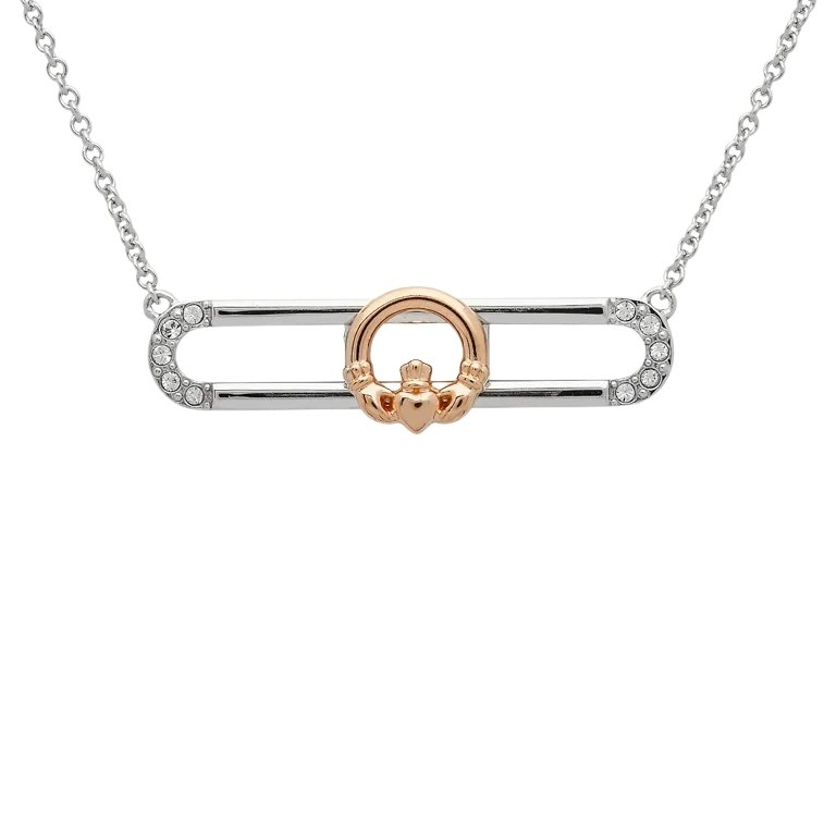 Sterling Silver Rose Gold Plated Claddagh Slider Necklace