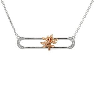 Sterling Silver Rose Gold Plated Tree Of Life Slider Necklace