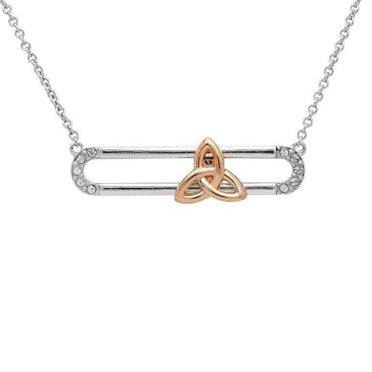 Sterling Silver Rose Gold Plated Trinity Knot Slider Necklace