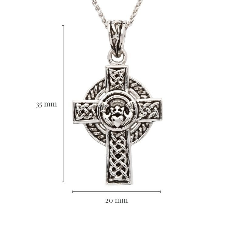 Unisex Sterling Silver Claddagh Celtic Cross with Measurement