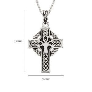 Sterling Silver Unisex Tree of Life Celtic Cross with Measurement