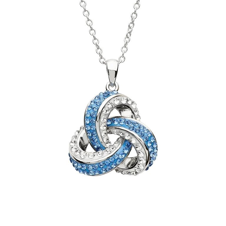 Stone Set Trinity Pendant Encrusted With Swarovski Crystal