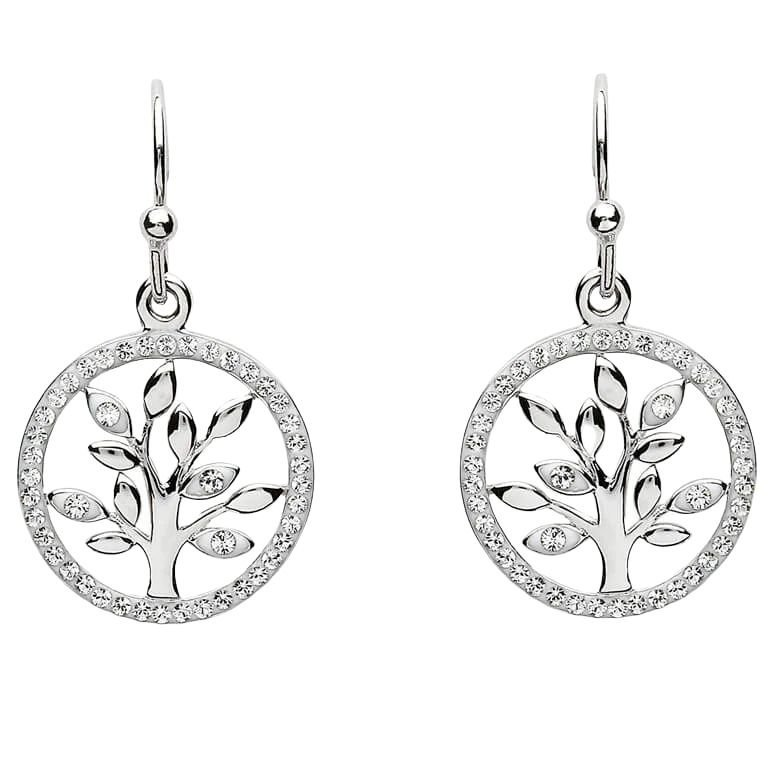 Tree Of Life Silver Earrings Adorned With Swarovski Crystal