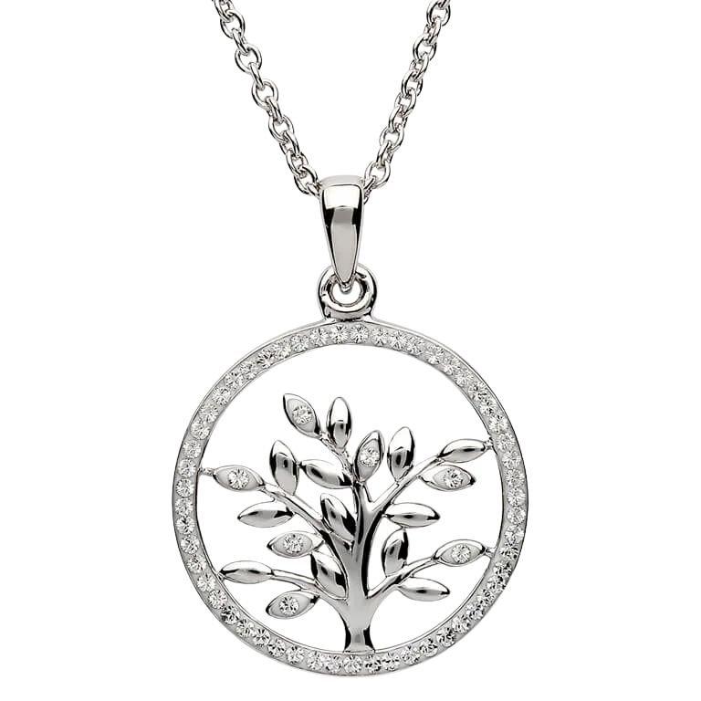 Tree Of Life Silver Pendant Adorned With Swarovski Crystal