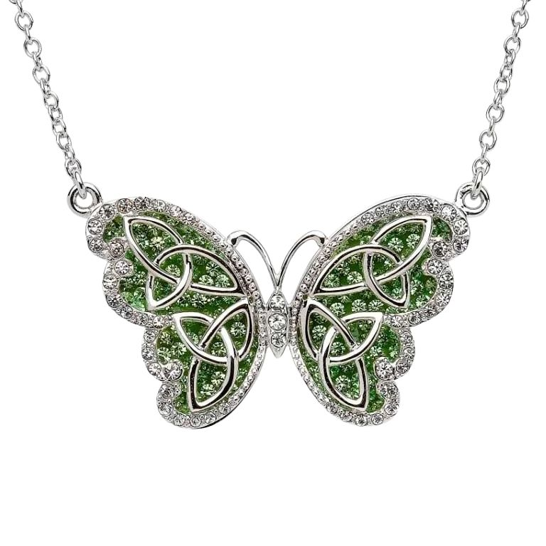 Trinity Butterfly Necklace Embellished With Crystals