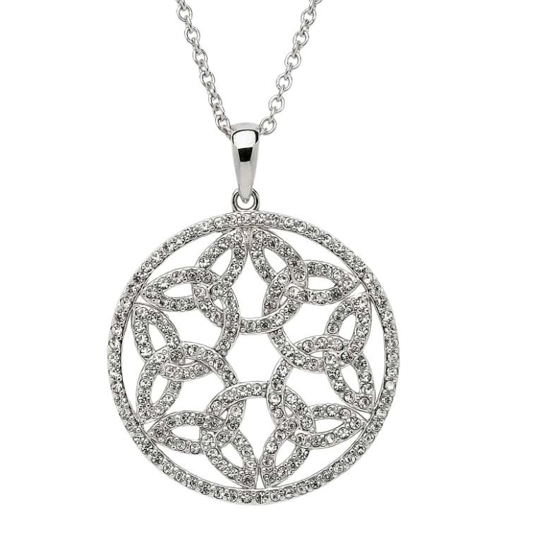Trinity Circle Necklace Embellished With Crystals