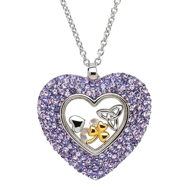 Trinity Heart Necklace Encrusted with Purple Crystals