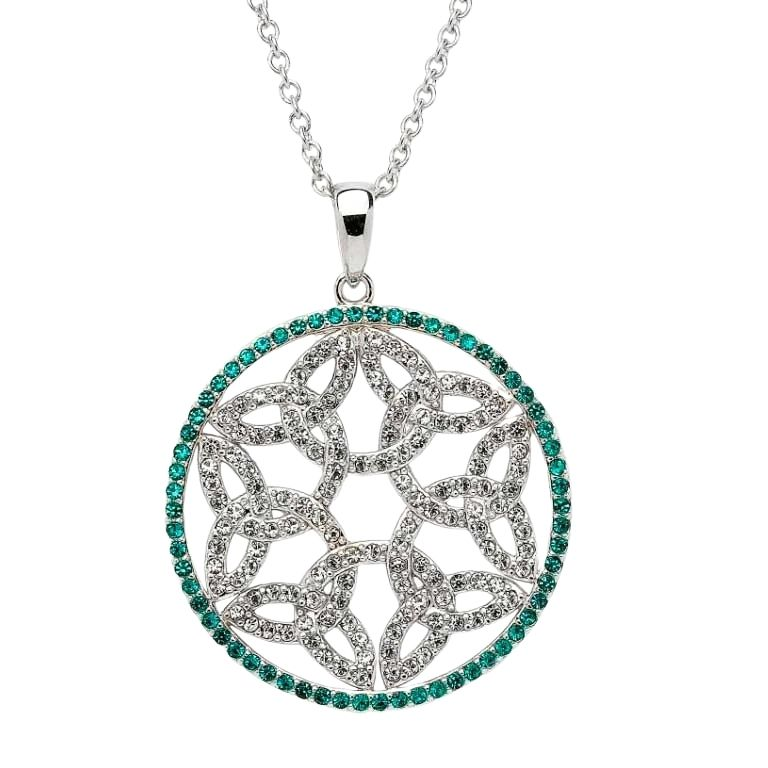 Trinity Knot Circle Necklace With Emerald Crystals