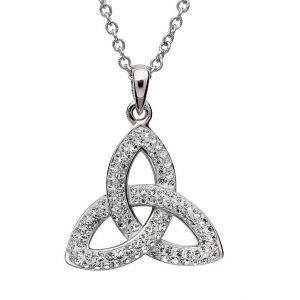 Trinity Knot Necklace Embellished with Crystals