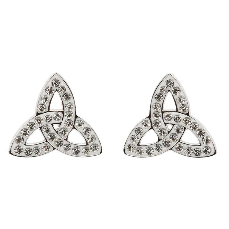 Trinity Knot Stud Earrings Adorned With Crystals