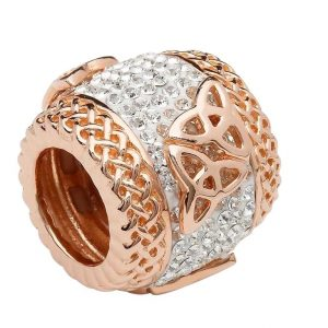 Trinity Rose Gold Plated Bead Adorned With Crystal